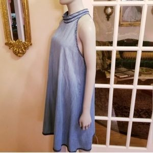 NWOT -HIGH NECK OMBRE A-LINE CHAMBRAY JEAN DRESS